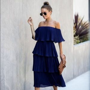 Bonifacio Tiered Pleated Midi Dress